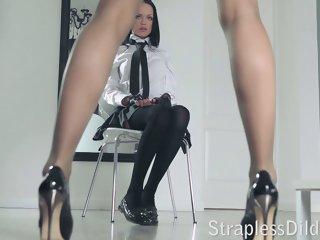 A long legged teacher gets..