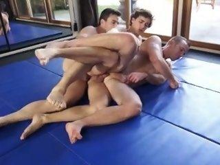 Wrestlers Threeway with Coach