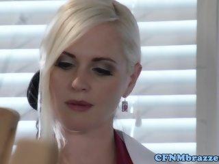 CFNM honeys pussyfucked by sub in threeway