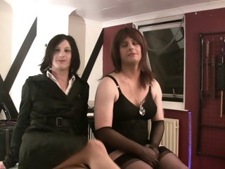 two mistresses fuck sissy..