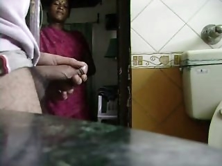 Indian Maid Watches Him Jack..